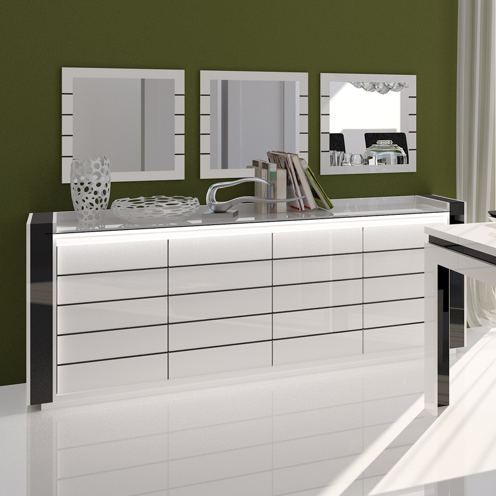 buffet bahut design laqu blanc et noir indro 4 portes avec clairage. Black Bedroom Furniture Sets. Home Design Ideas