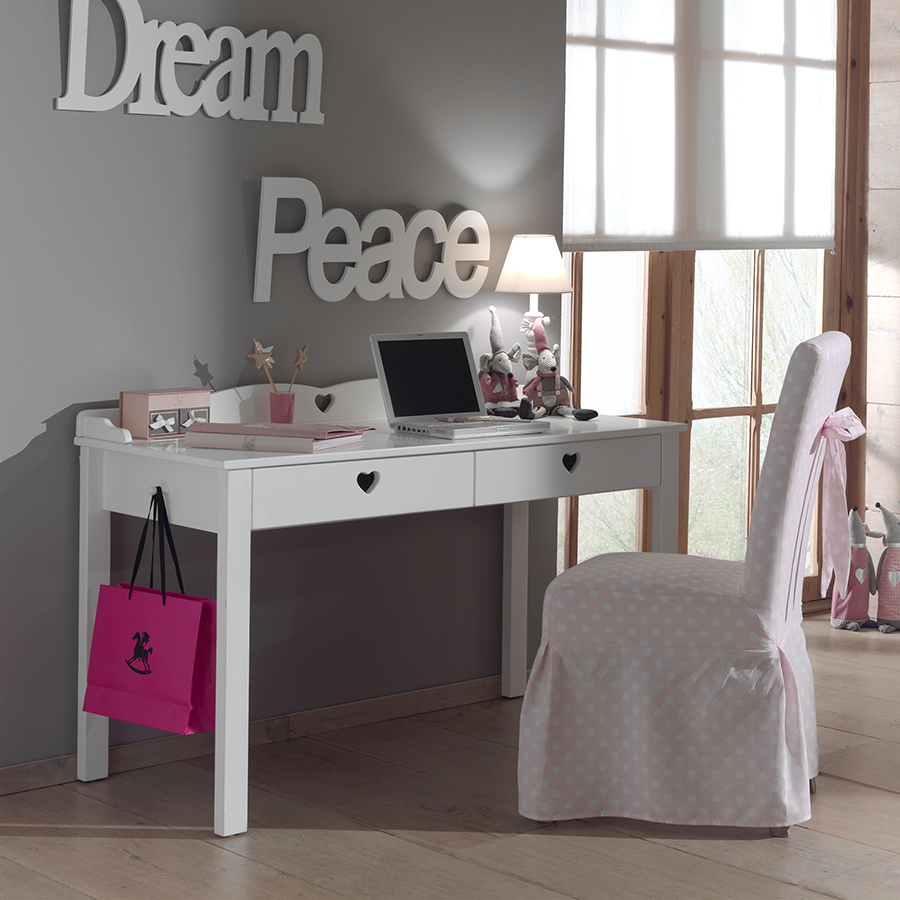 promotion 30 bureau fille blanc contemporain 2 tiroirs. Black Bedroom Furniture Sets. Home Design Ideas
