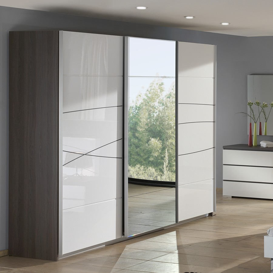 Armoire design porte coulissante for Armoire penderie blanc conforama