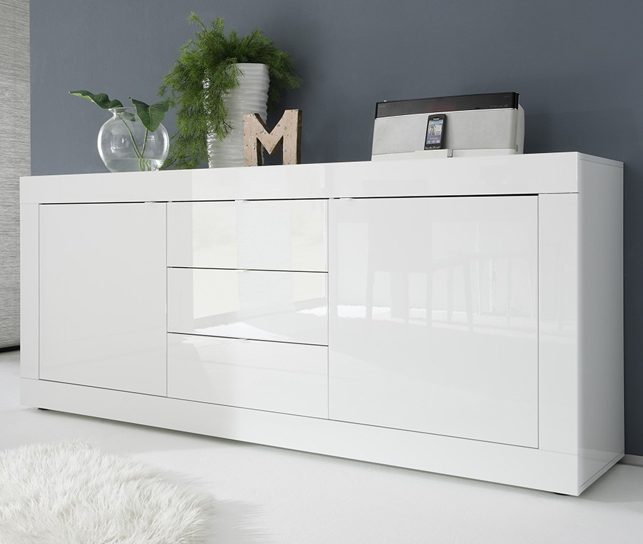 Chambre laqu blanc brillant meuble tv en blanc laque for Buffet blanc laque conforama