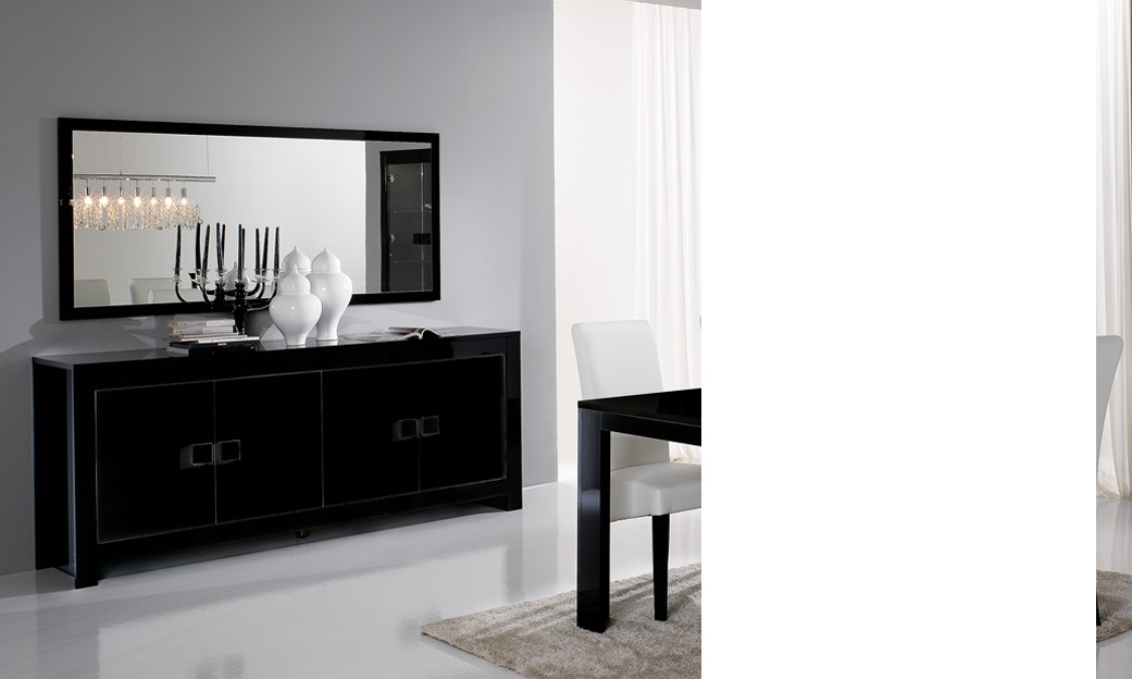 buffet bahut noir laqu 3 portes design phoenix. Black Bedroom Furniture Sets. Home Design Ideas