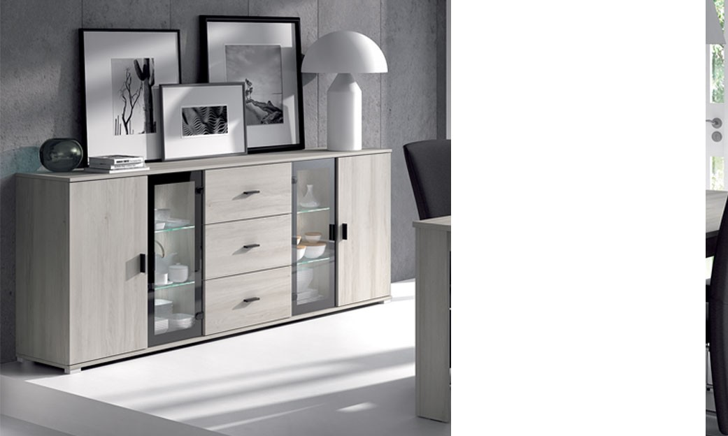 buffet bahut couleur ch ne gris comtemporain violaine. Black Bedroom Furniture Sets. Home Design Ideas