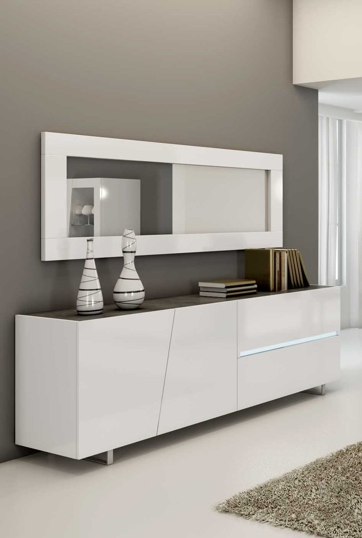 buffet design blanc metal lizea zd1 bah d. Black Bedroom Furniture Sets. Home Design Ideas