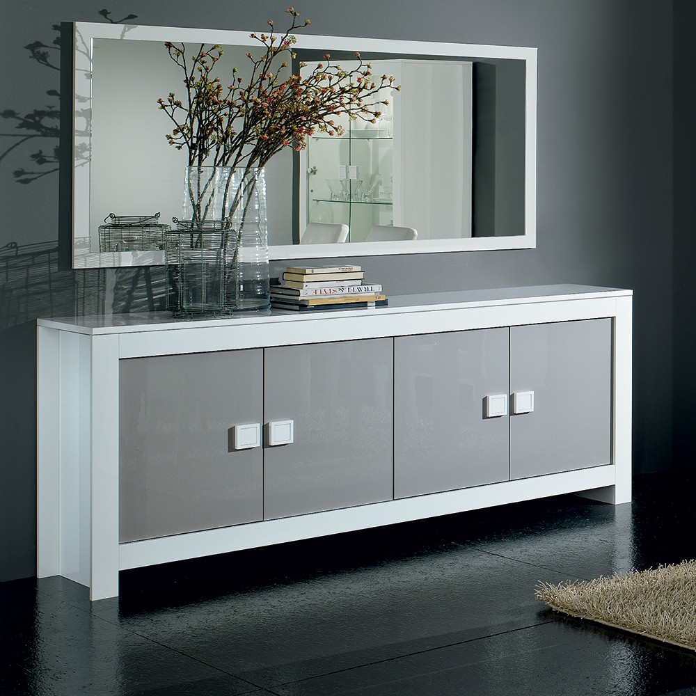 Buffet gris laque for Buffet bas design