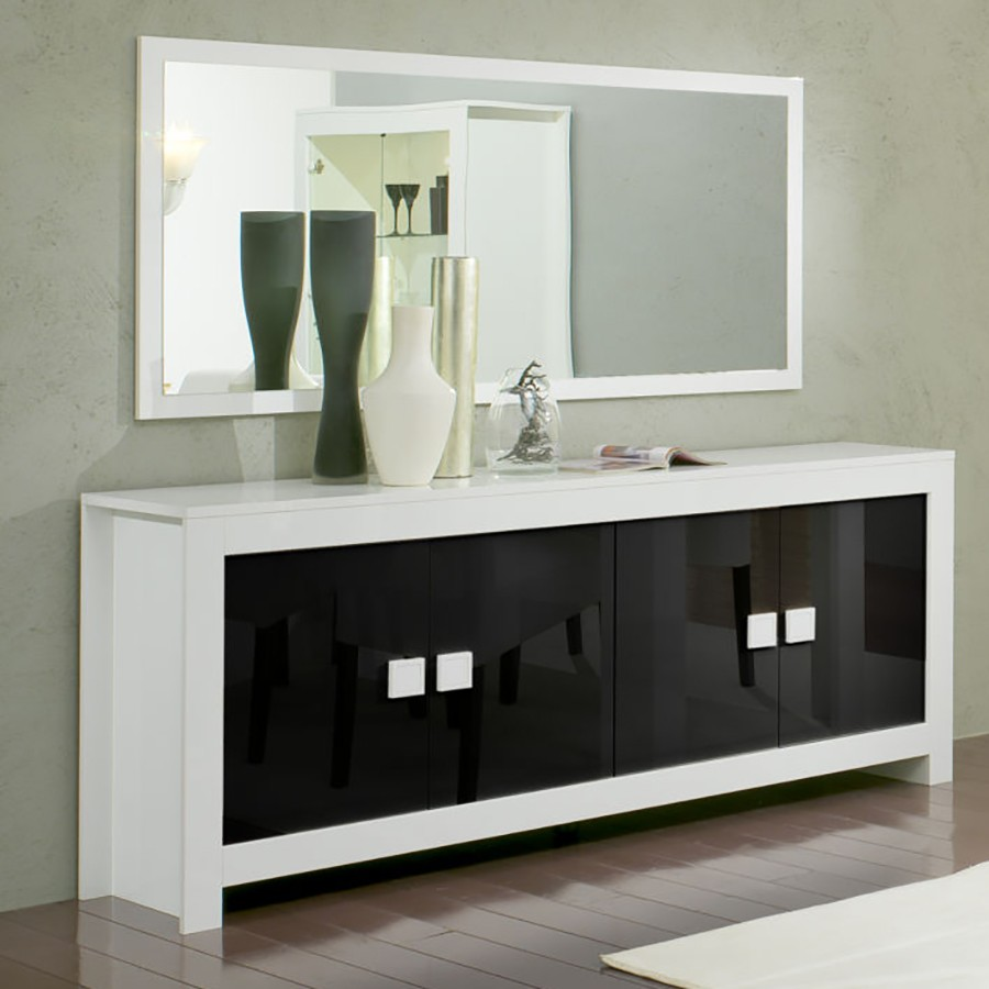 buffet noir et blanc laqu. Black Bedroom Furniture Sets. Home Design Ideas