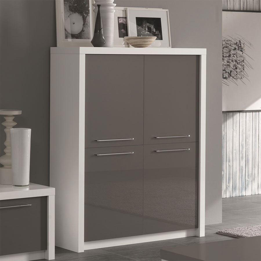 Buffet haut for Buffet cuisine gris laque