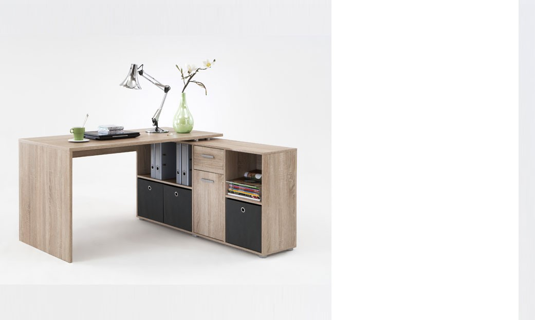 Bureau d 39 angle r versible couleur ch ne turno - Bureau d angle but ...
