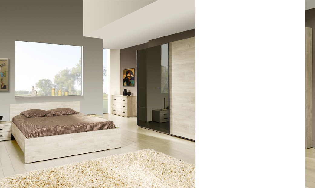 chambre compl te contemporaine marius coloris ch ne blanchi. Black Bedroom Furniture Sets. Home Design Ideas