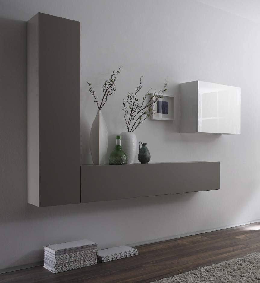Meuble mural suspendu design laque blanc - La redoute meuble salon ...