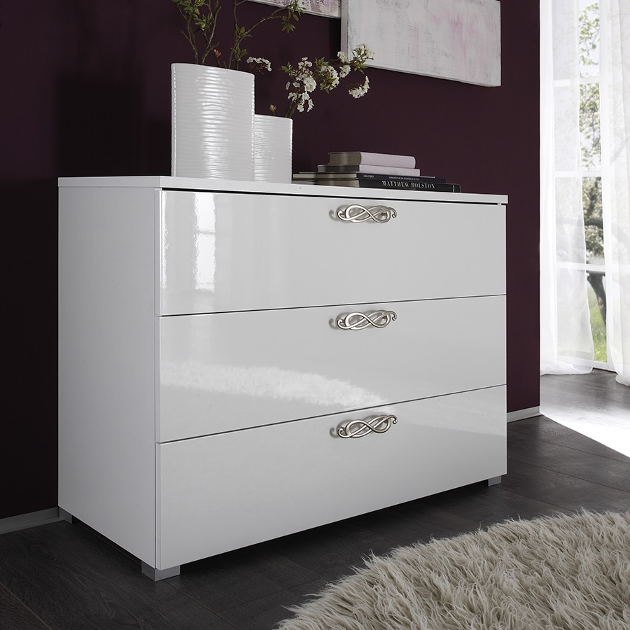 Commode 3 tiroirs design blanche infinity zd1 comod a d for Commode chambre design