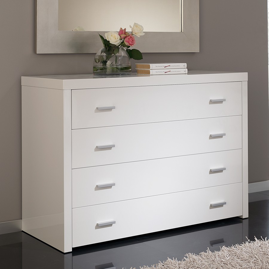 Commode design 4 tiroirs blanche tino zd1 comod a d - Commode blanche design ...