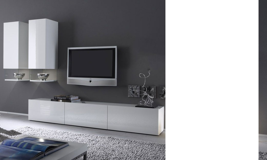 Banc tv design laqu blanc madere - Ensemble meuble tv blanc ...