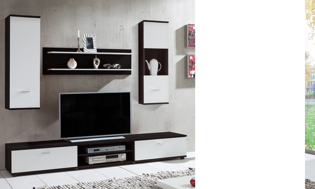 Ensemble meuble tv murale ronn - Ensemble meuble tv blanc ...