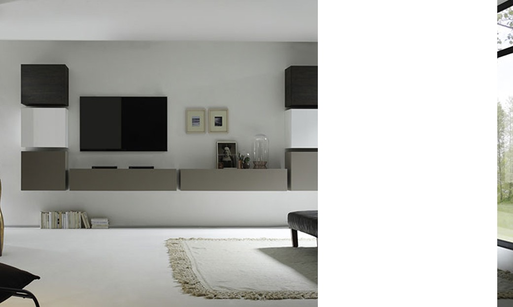 Ensemble tv mural contemporain laqu blanc et gris mat weng toulon - Ensemble tv mural laque ...