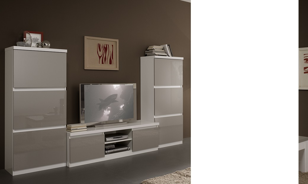 Ensemble tv mural design laqu blanc et gris washington 2 - Ensemble mural design ...