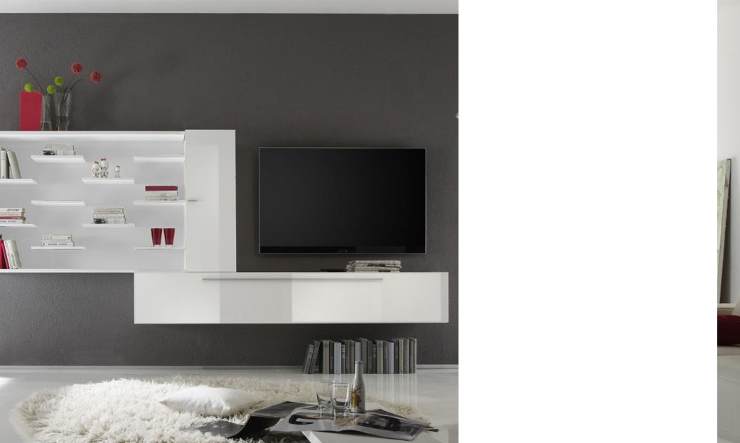 Ensemble tv mural design combo coloris blanc laqu - Ensemble tv mural laque ...