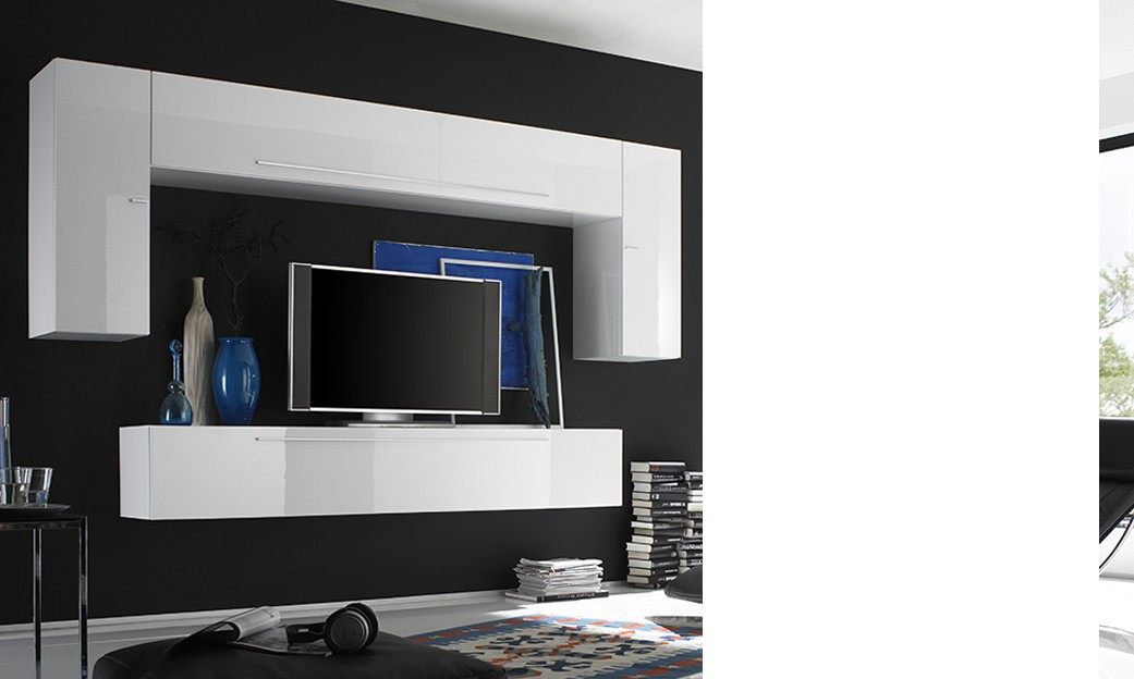 Ensemble tv mural design pablo4 - Ensemble tv mural laque ...