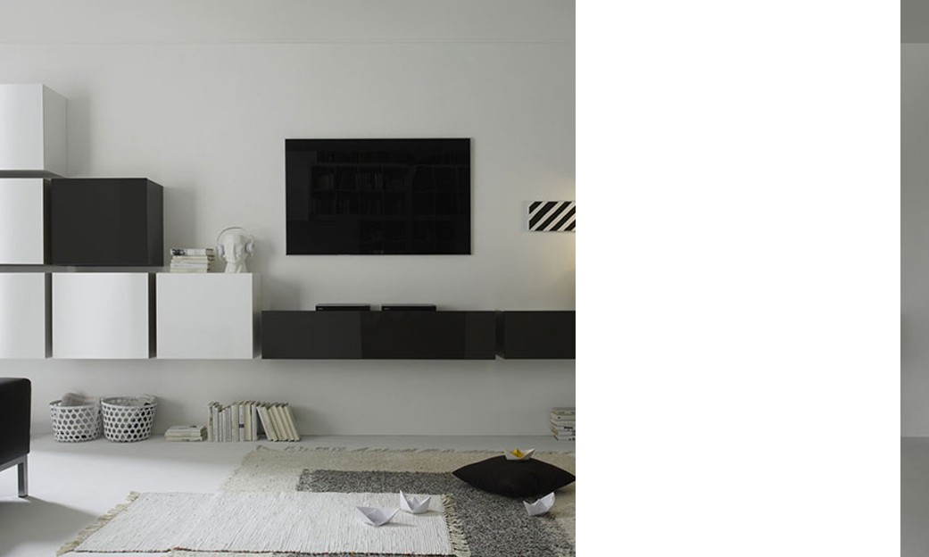 Ensemble tv mural design laqu blanc brillant et for Meuble mural laque brillant design