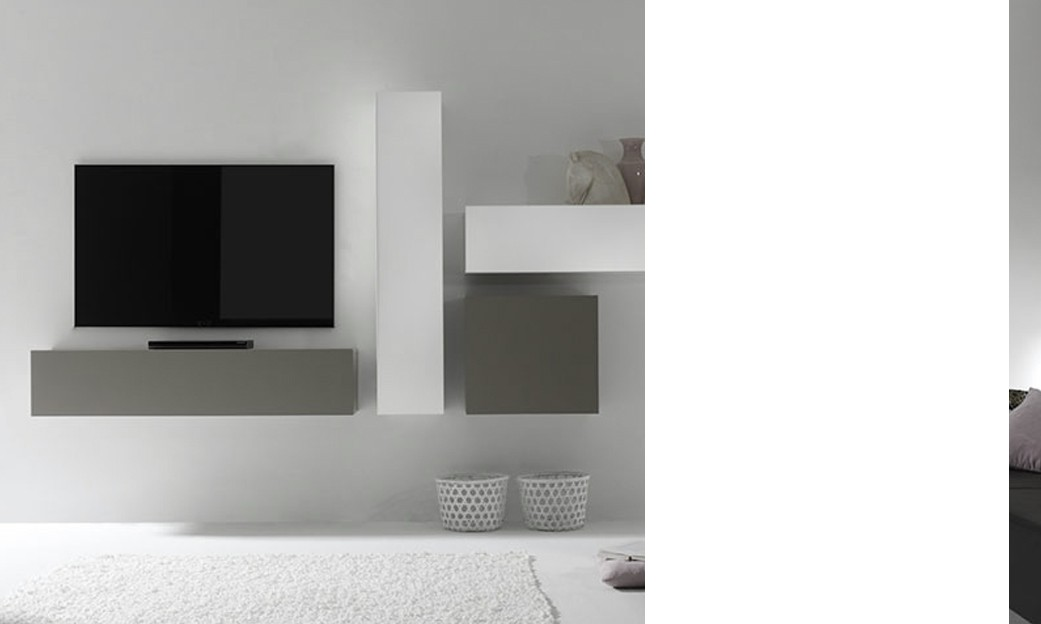 Ensemble tv mural design laqu gris mat et blanc brillant for Meuble mural laque brillant design