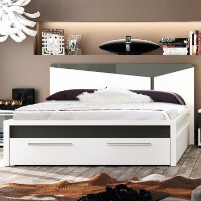 lit adulte blanc laque maison design. Black Bedroom Furniture Sets. Home Design Ideas