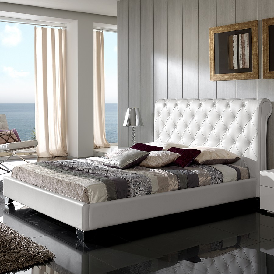 lit capitonne blanc. Black Bedroom Furniture Sets. Home Design Ideas