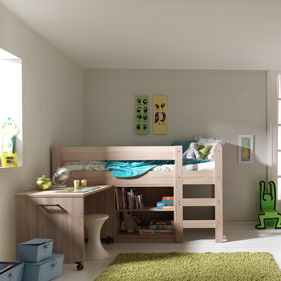 lit sur lev avec rangements pour enfants ou adolescents. Black Bedroom Furniture Sets. Home Design Ideas