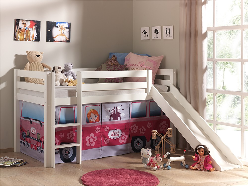 lit toboggan pin blanc princesse zd1 lit sur p. Black Bedroom Furniture Sets. Home Design Ideas