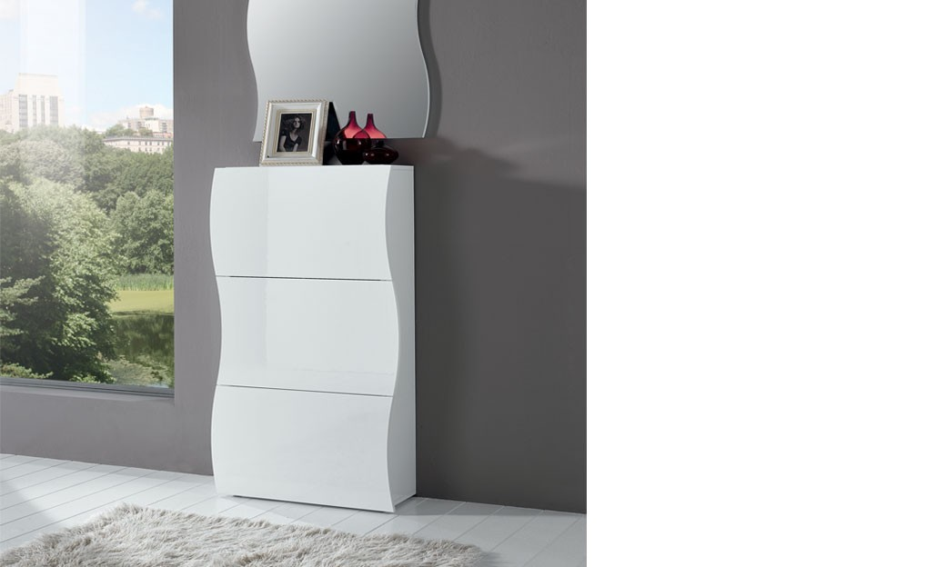 meuble chaussures blanc laqu design swell. Black Bedroom Furniture Sets. Home Design Ideas