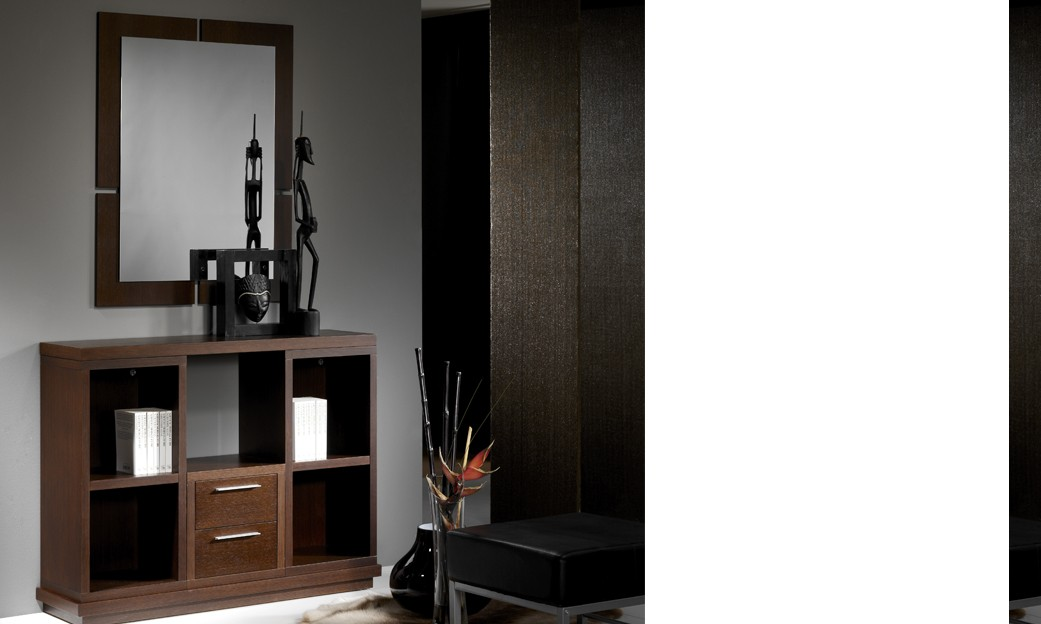 meuble d 39 entr e contemporain avec miroir degas coloris noyer. Black Bedroom Furniture Sets. Home Design Ideas