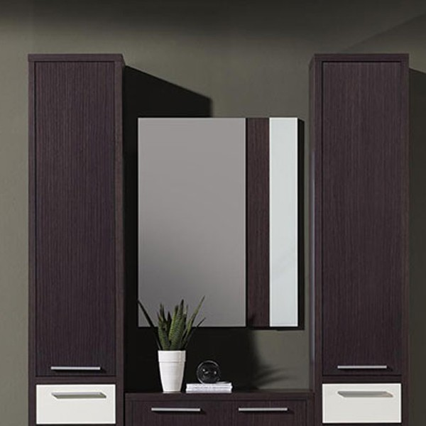 meuble entree miroir wenge blanc sisley zd1 meu dentr. Black Bedroom Furniture Sets. Home Design Ideas
