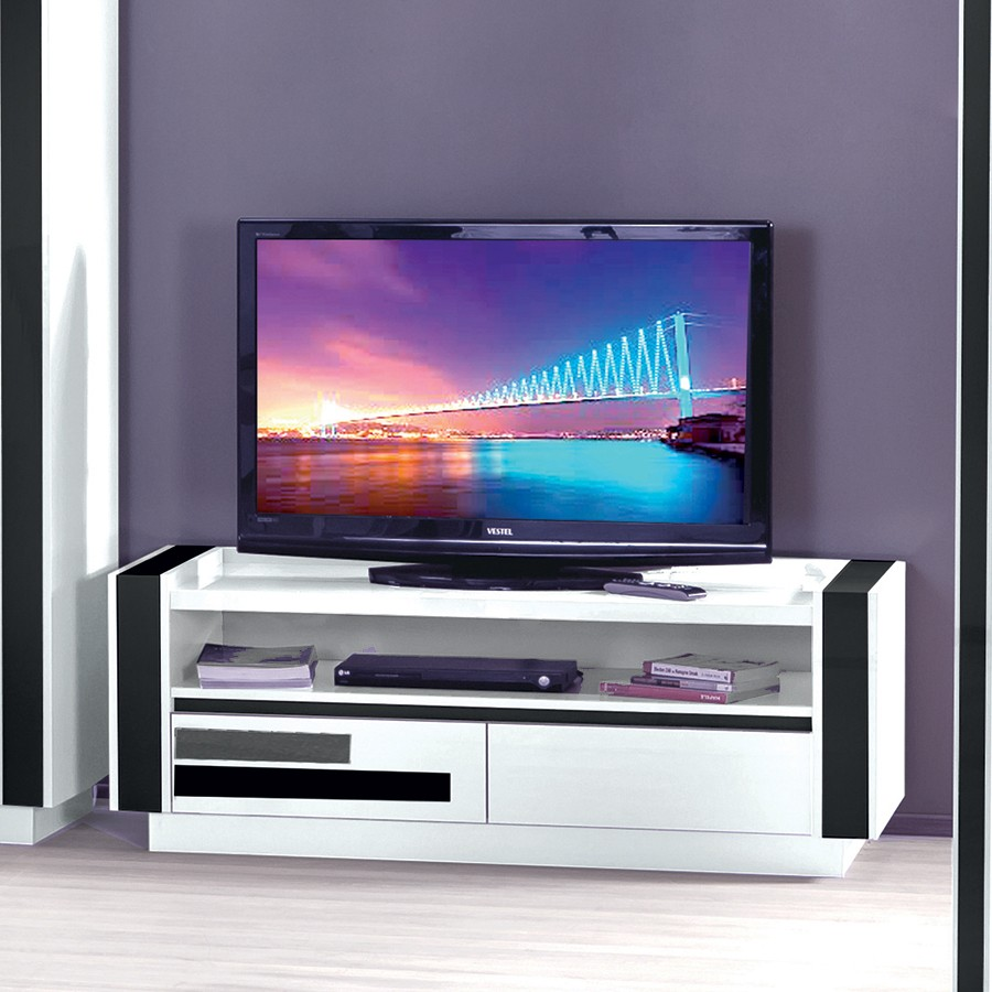 meuble tv design laque blanc amovible troye. Black Bedroom Furniture Sets. Home Design Ideas