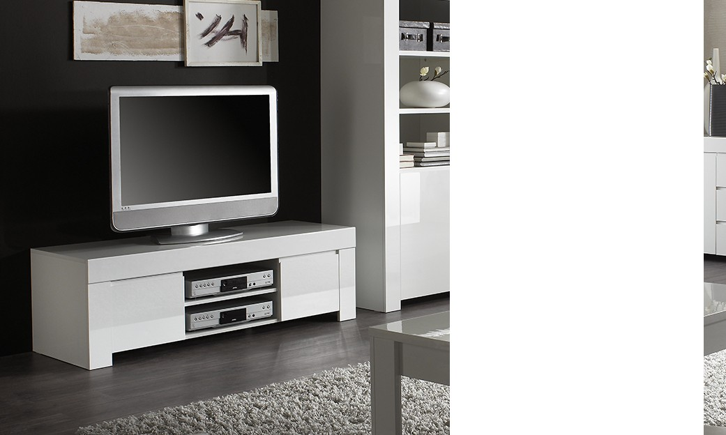 Meuble tv design blanc laqu aphodite disponible en 2 for Dimension meuble tv