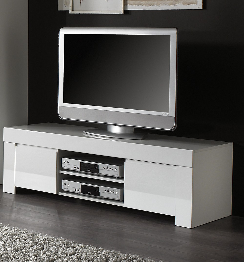 Meuble tv design blanc laque aphodite zd1 m tv d for Meuble tv laque