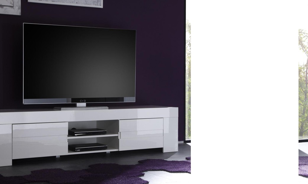 Meuble tv hifi design elios coloris blanc laqu for Meuble hifi blanc