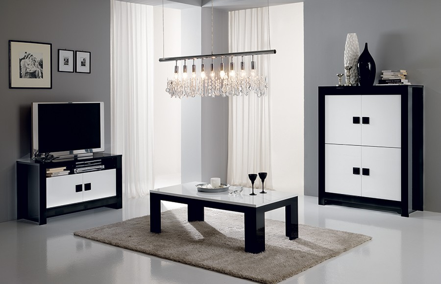 meuble tv laque noir et blanc rue du commerce id es de d coration et de mobilier pour la. Black Bedroom Furniture Sets. Home Design Ideas