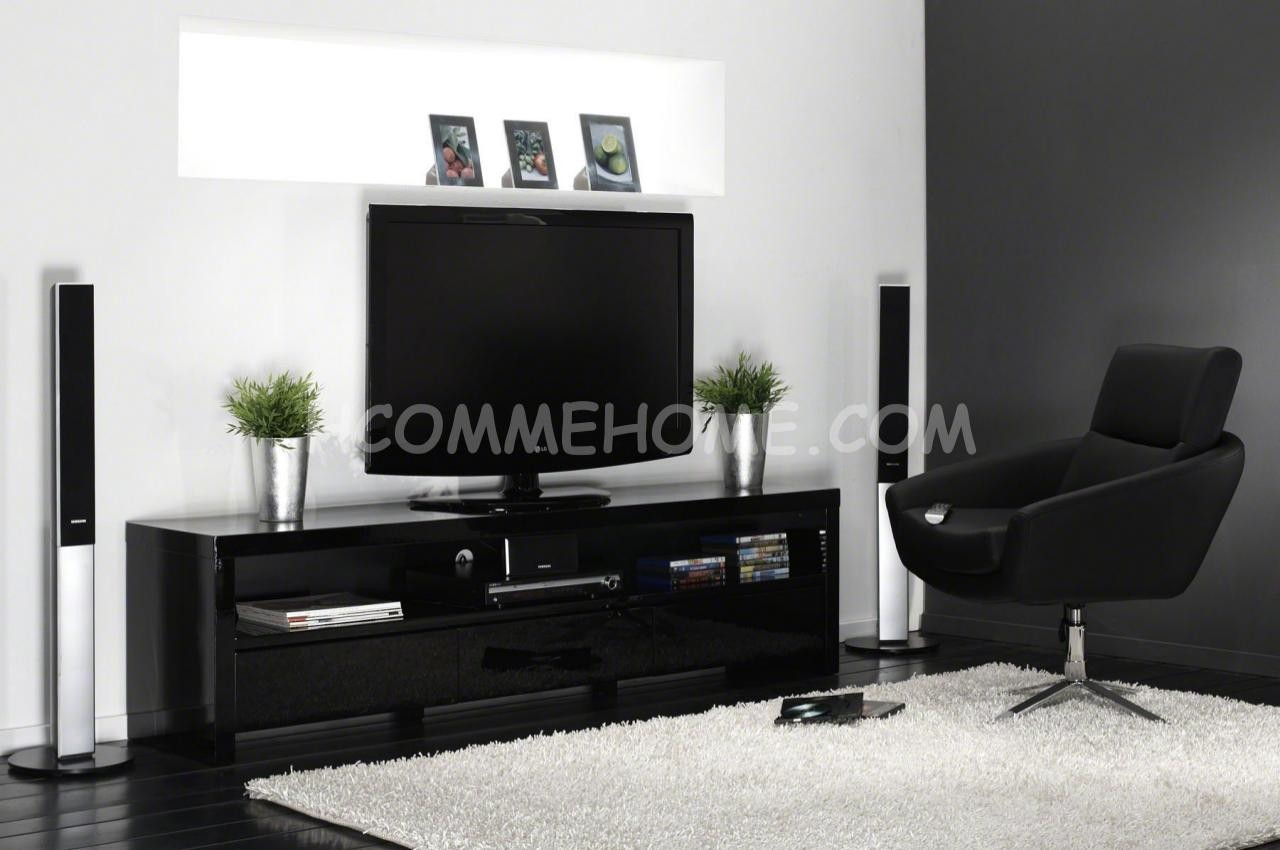 meuble tv design noir laqu meuble tv design noir laqu. Black Bedroom Furniture Sets. Home Design Ideas