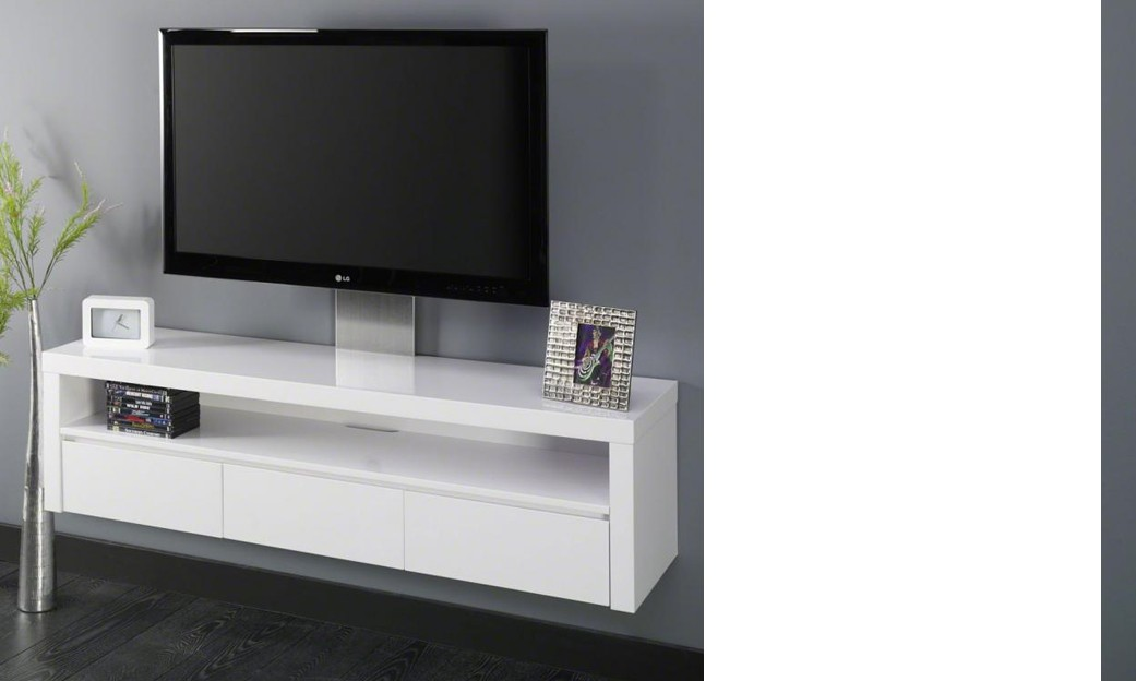 Meuble hifi suspendu design for Petit meuble tv blanc