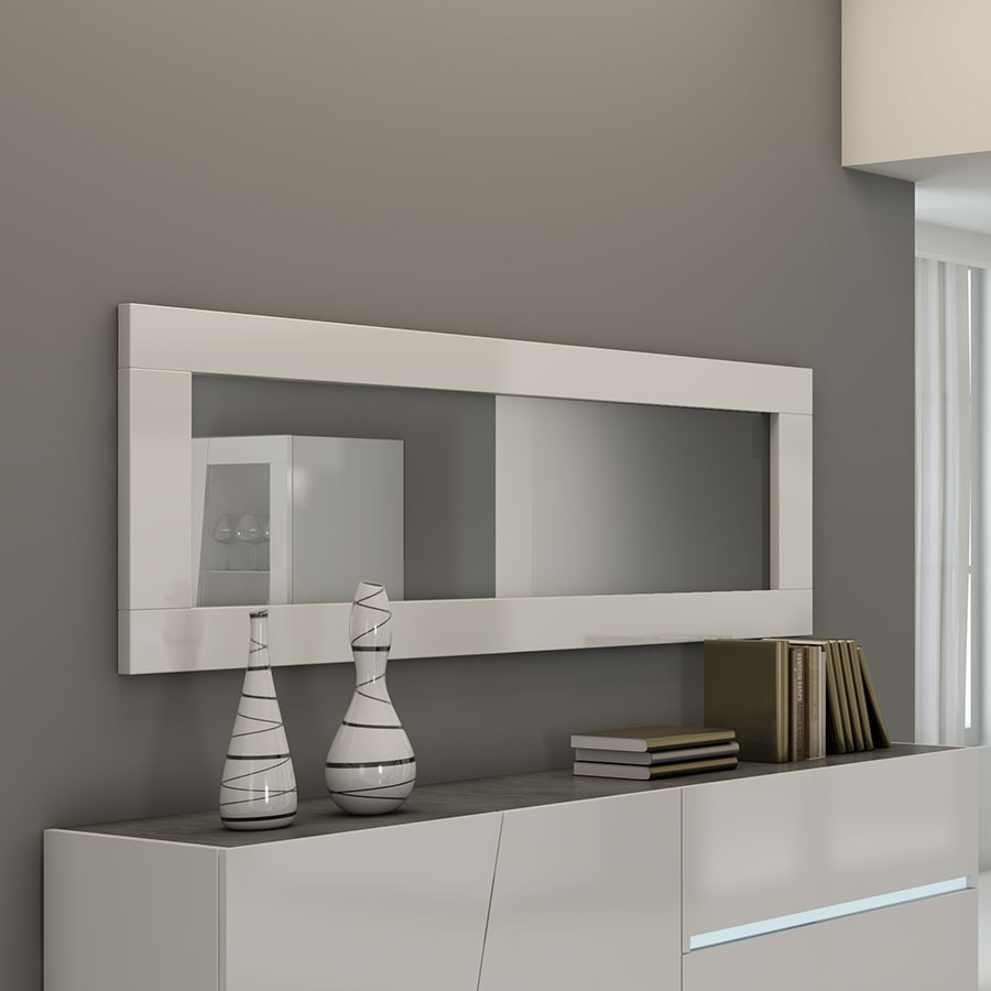 Miroir design blanc lizea for Miroir murale rectangulaire