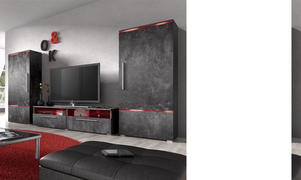 meuble tv led gris solutions pour la d coration. Black Bedroom Furniture Sets. Home Design Ideas
