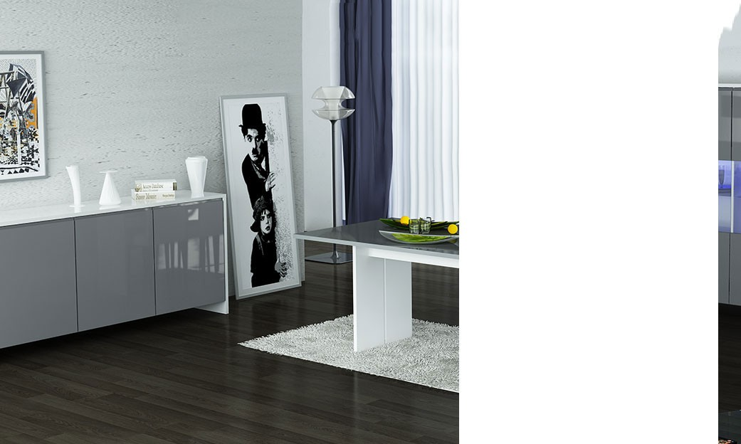 salle manger compl te blanc et gris laqu design shiva. Black Bedroom Furniture Sets. Home Design Ideas