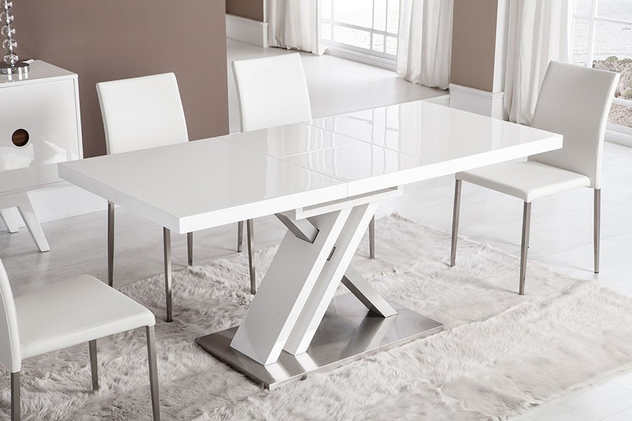 Table a manger design bernie zd1 tab r d - Table blanche carree avec rallonges ...
