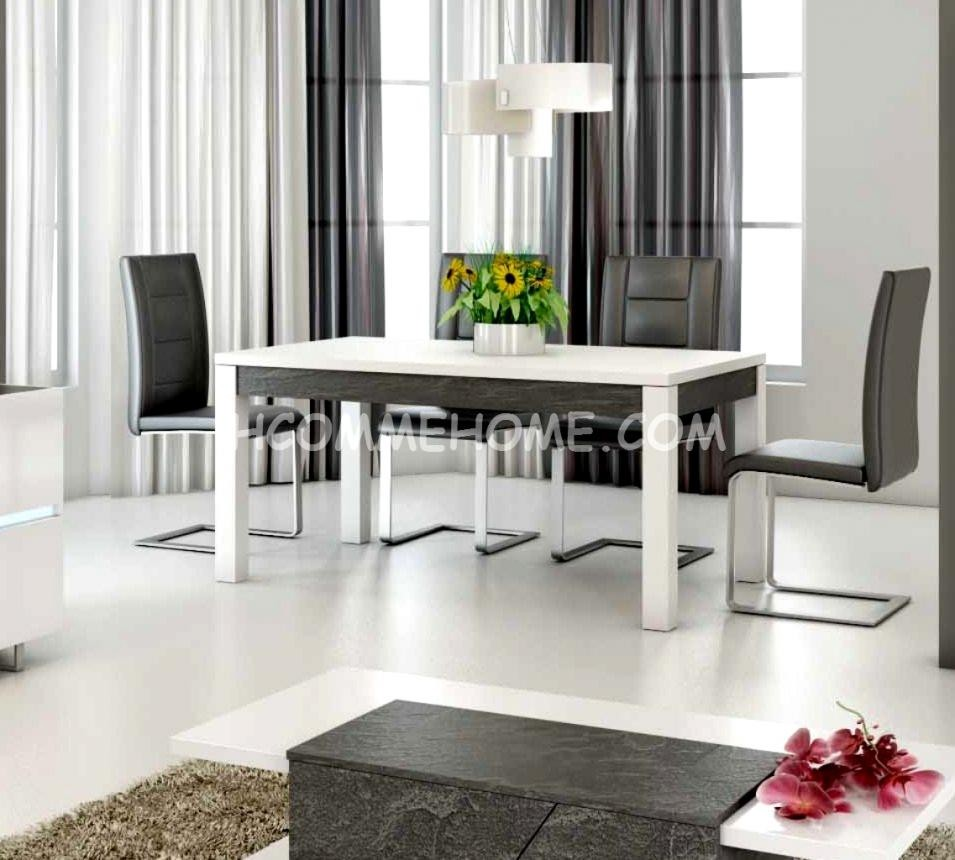Table a manger design lizea zd1 tab r d - Table salle a manger design blanc laque ...