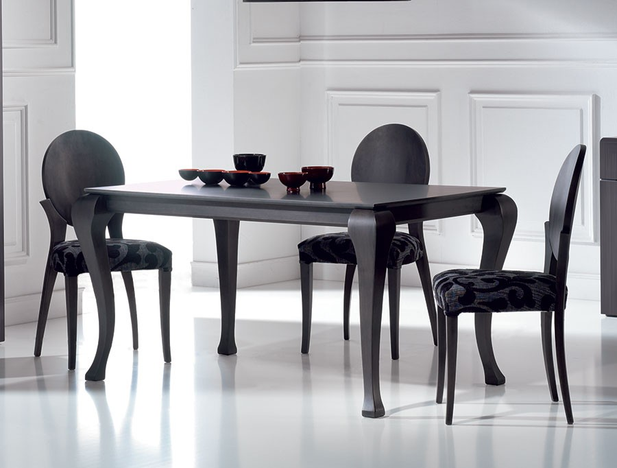 Table a manger noir satine cameron zd1 tab r c for Table de salle a manger contemporaine avec rallonge
