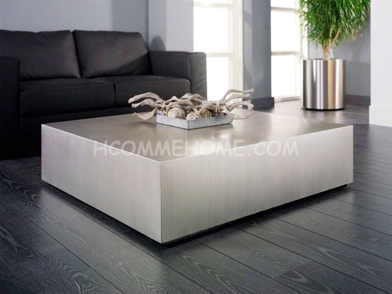 Table basse design inox brosse for Table basse design