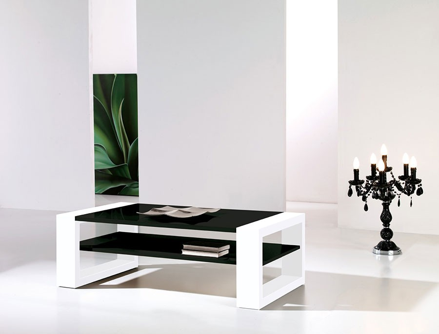 Table basse design noir blanc paco zd1 tbas d - Table basse noir et blanc design ...