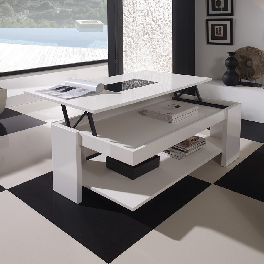 Table basse ronde relevable - Table de salon relevable et extensible ...