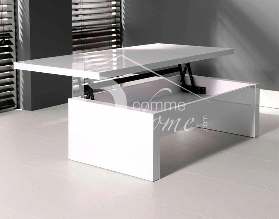 Table basse transformable blanc laque - Table basse relevable transformable ...