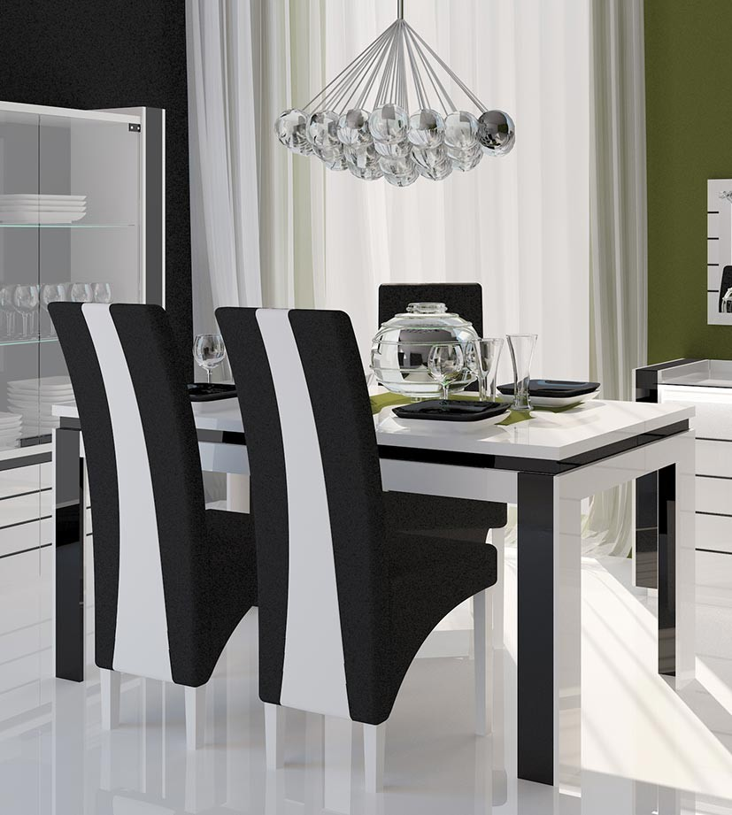 salle manger laqu e blanc et noir. Black Bedroom Furniture Sets. Home Design Ideas