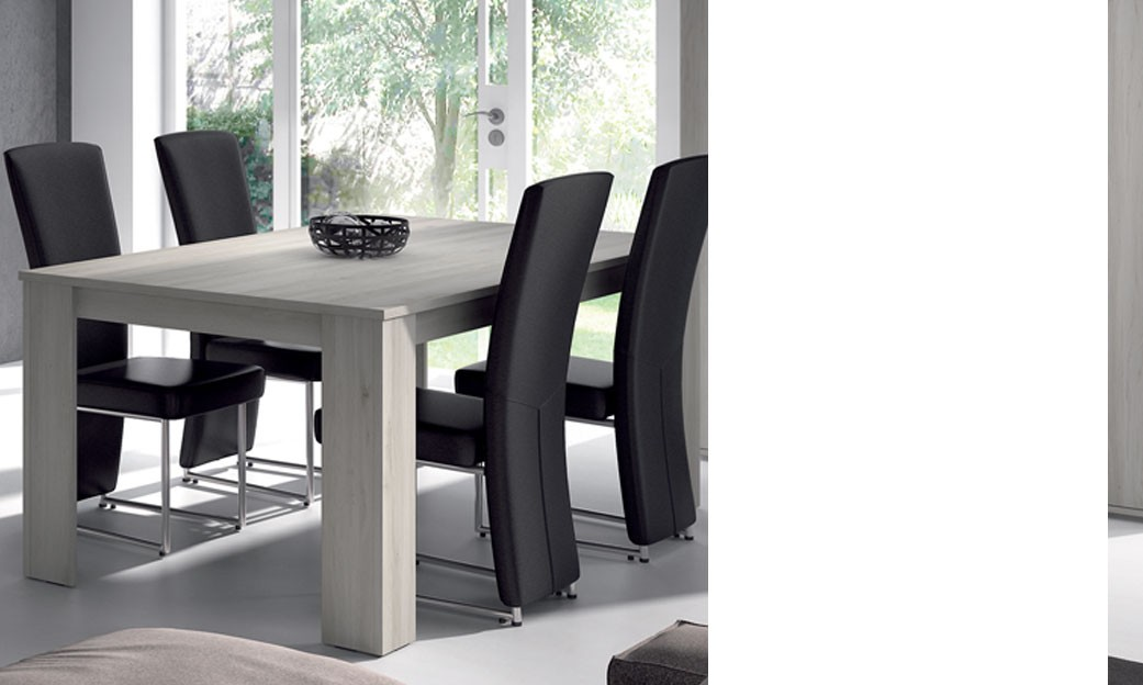 table de salle manger rectangulaire couleur ch ne gris contemporain violaine. Black Bedroom Furniture Sets. Home Design Ideas