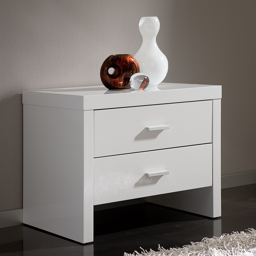 Table de chevet design 2 tiroirs tino zd1 chv a d - Table chevet blanc laque ...